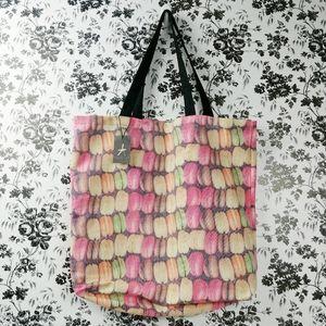 Macaroon multi pastel print book bag market tote